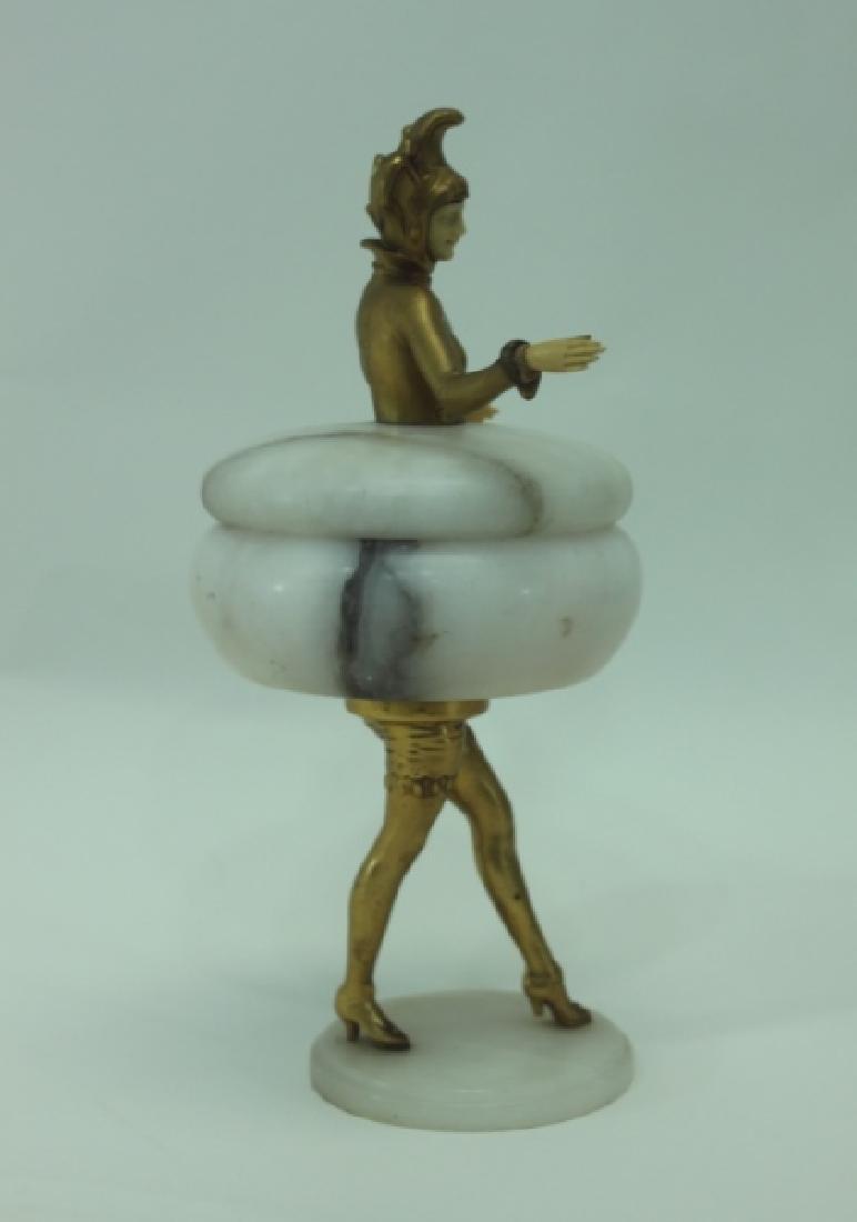 Art Deco Gilt Metal Female Figural Alabaster Jar - 3