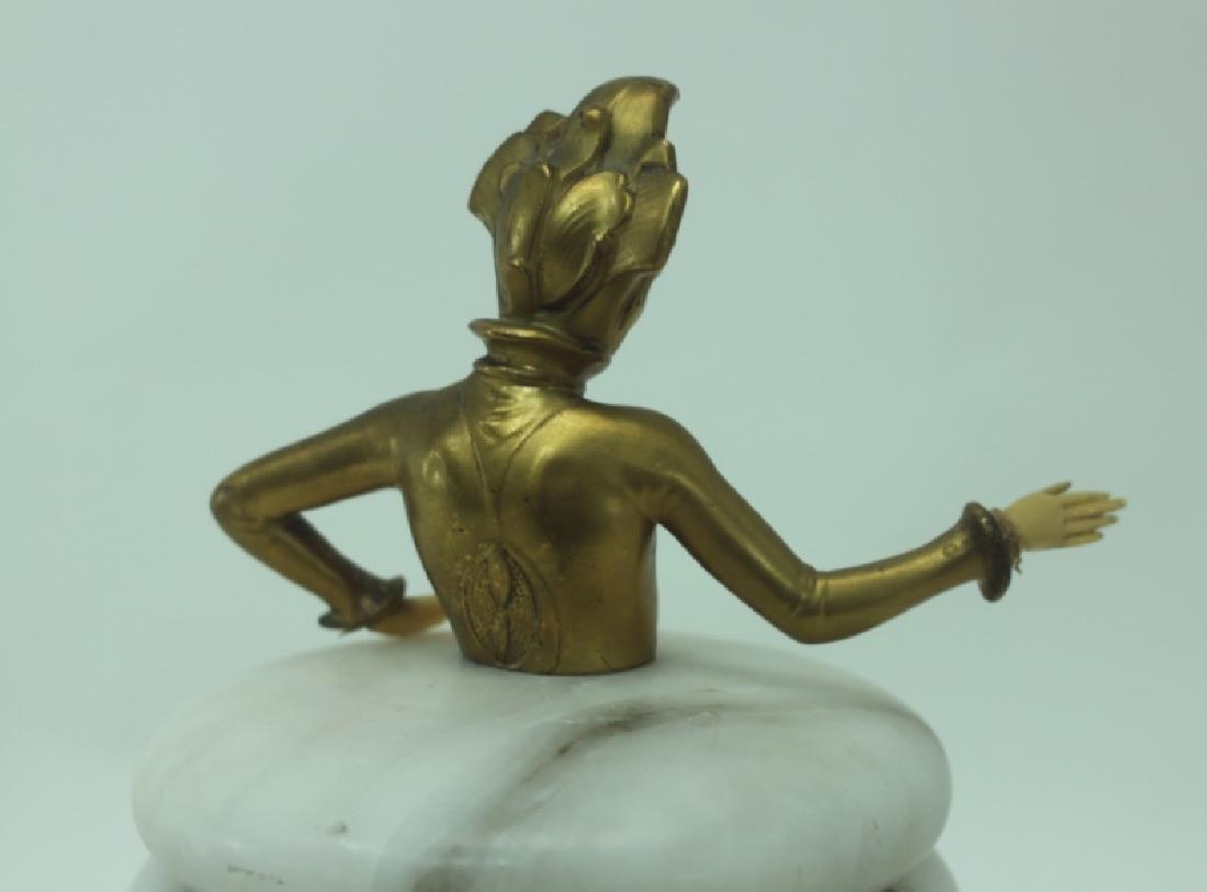 Art Deco Gilt Metal Female Figural Alabaster Jar - 6