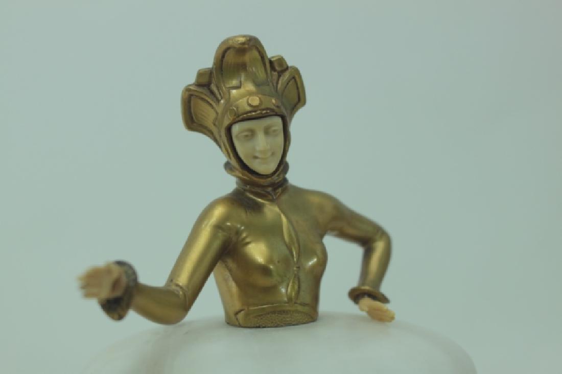 Art Deco Gilt Metal Female Figural Alabaster Jar - 8