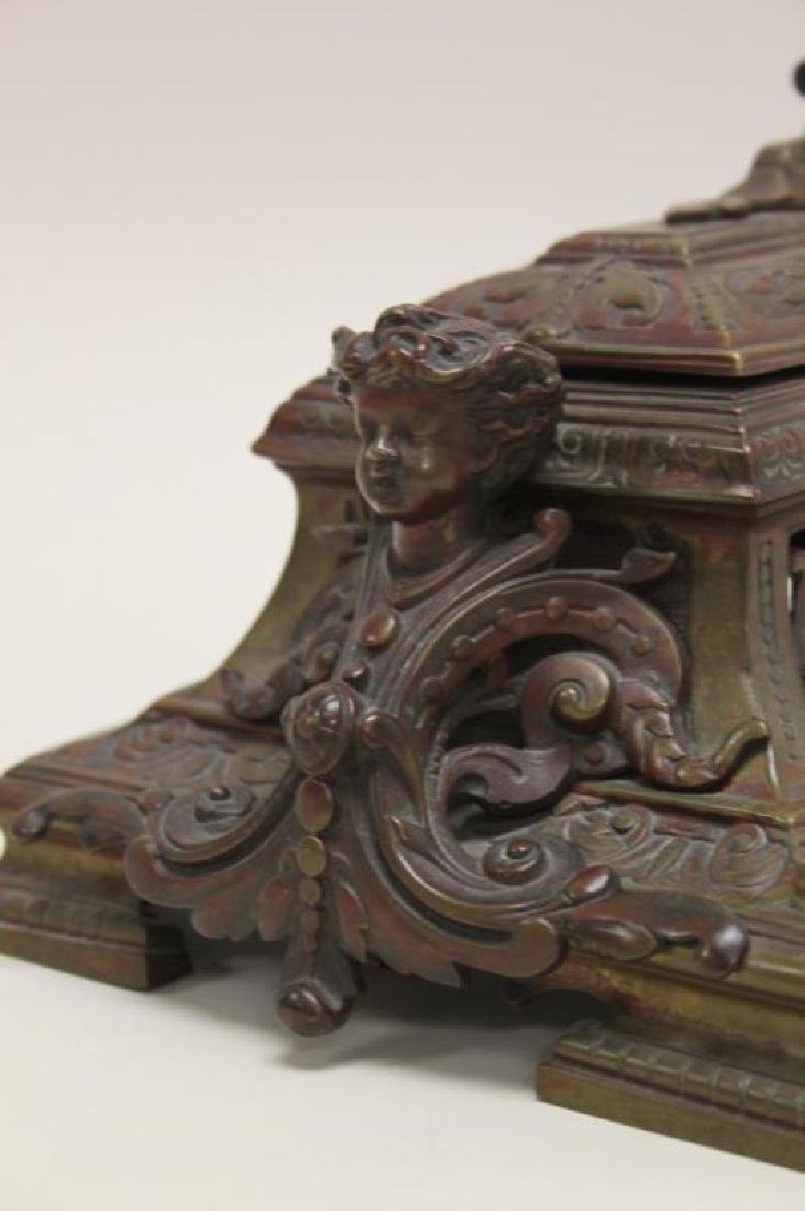 19C English Ink Well Stamp Holder Lions & Sphinxes - 5