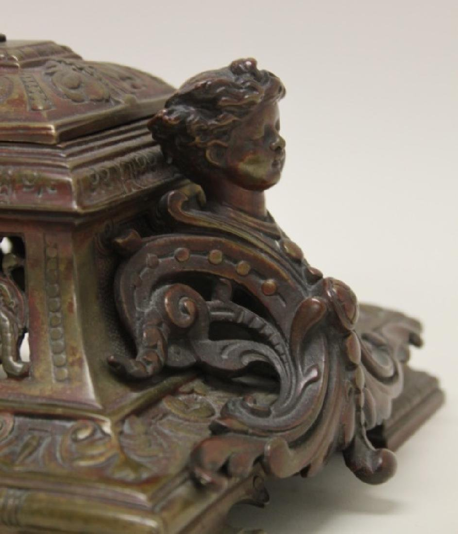 19C English Ink Well Stamp Holder Lions & Sphinxes - 6