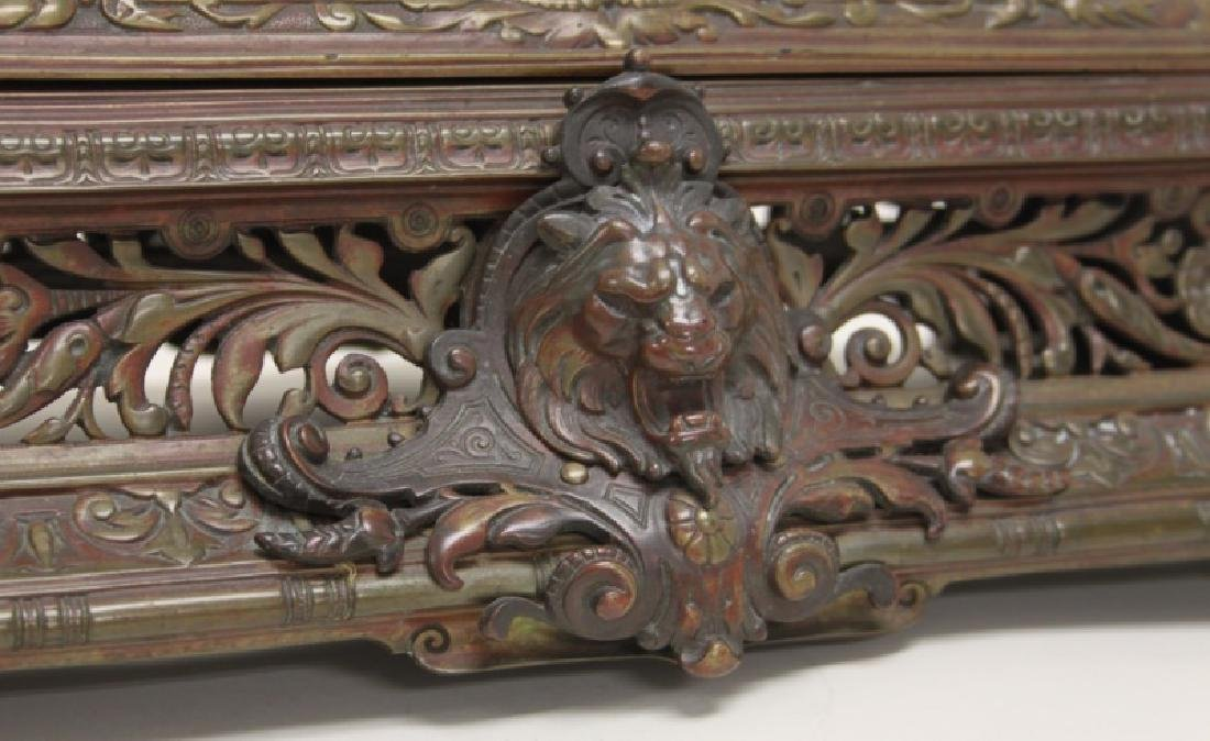19C English Ink Well Stamp Holder Lions & Sphinxes - 8