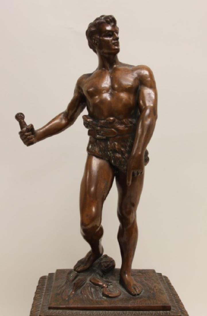 Seth Thomas Bronze WPA Male Figural Clock - 3