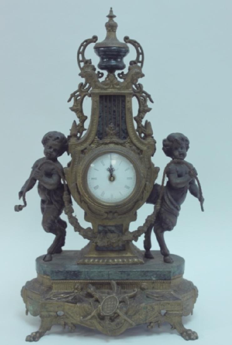 Monumental Italian Gilt Metal Mantel Clock w Putti