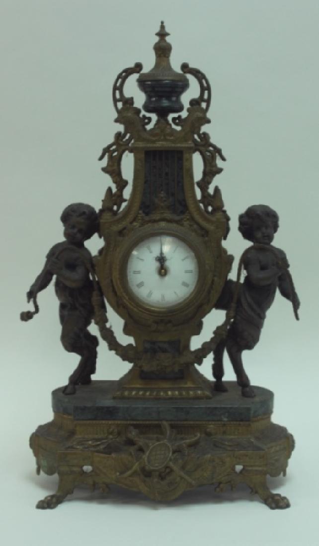 Monumental Italian Gilt Metal Mantel Clock w Putti - 2