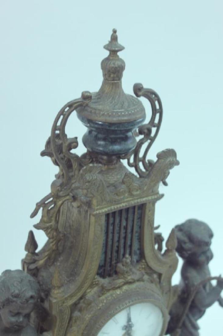 Monumental Italian Gilt Metal Mantel Clock w Putti - 3