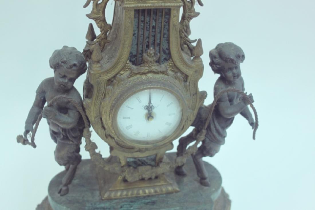 Monumental Italian Gilt Metal Mantel Clock w Putti - 4