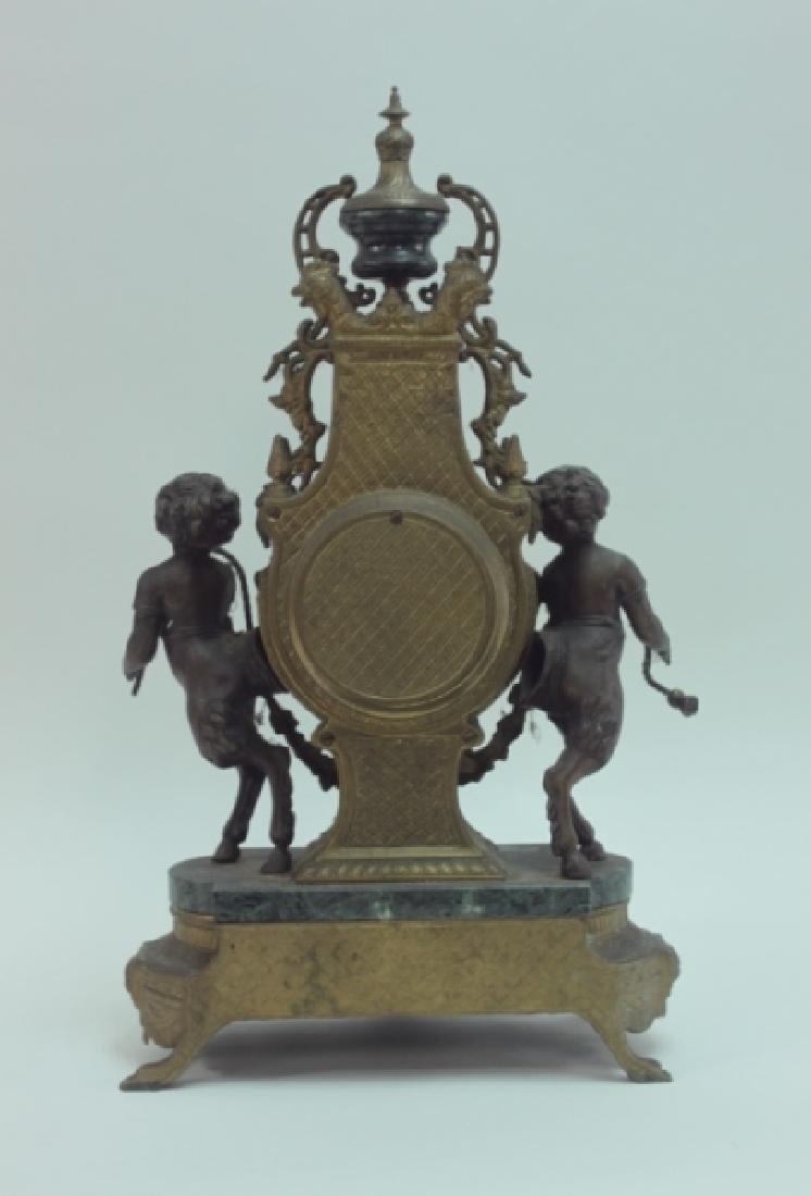 Monumental Italian Gilt Metal Mantel Clock w Putti - 5
