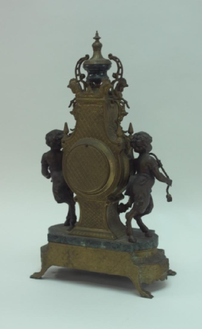 Monumental Italian Gilt Metal Mantel Clock w Putti - 6