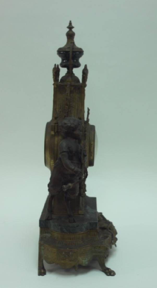 Monumental Italian Gilt Metal Mantel Clock w Putti - 7