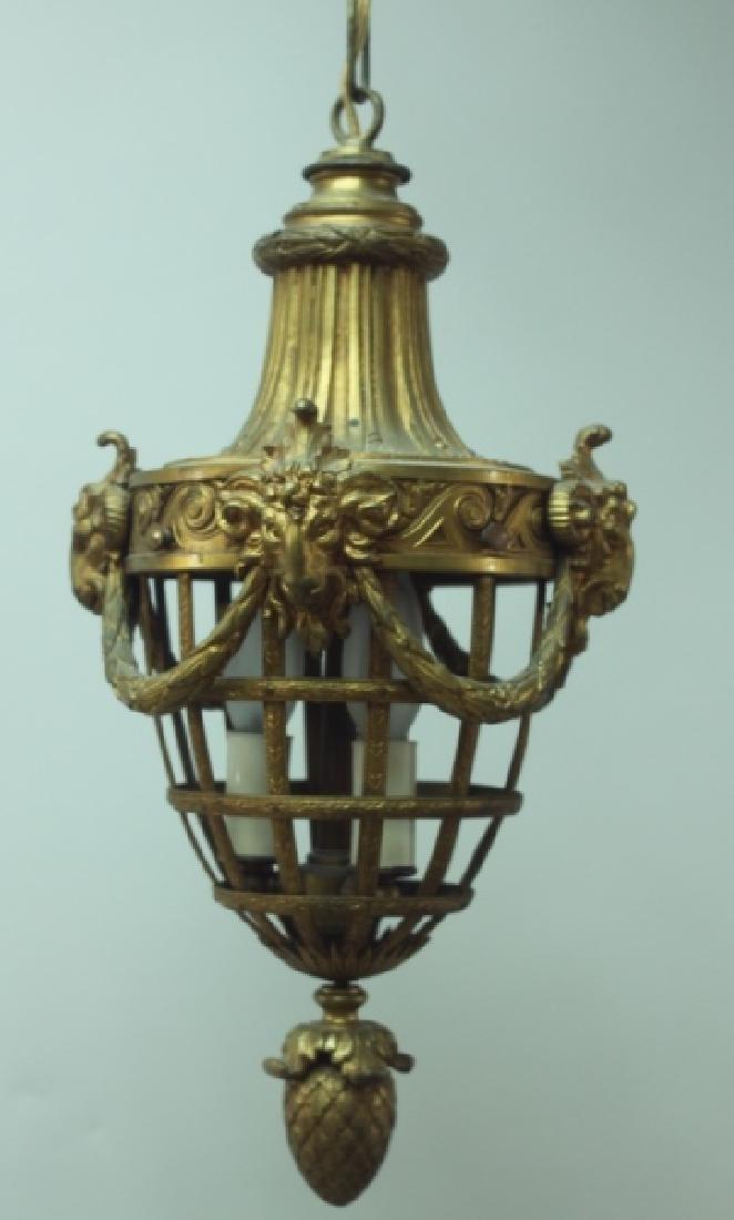 19C French Dore Bronze Rams Heads Hanging Lamp
