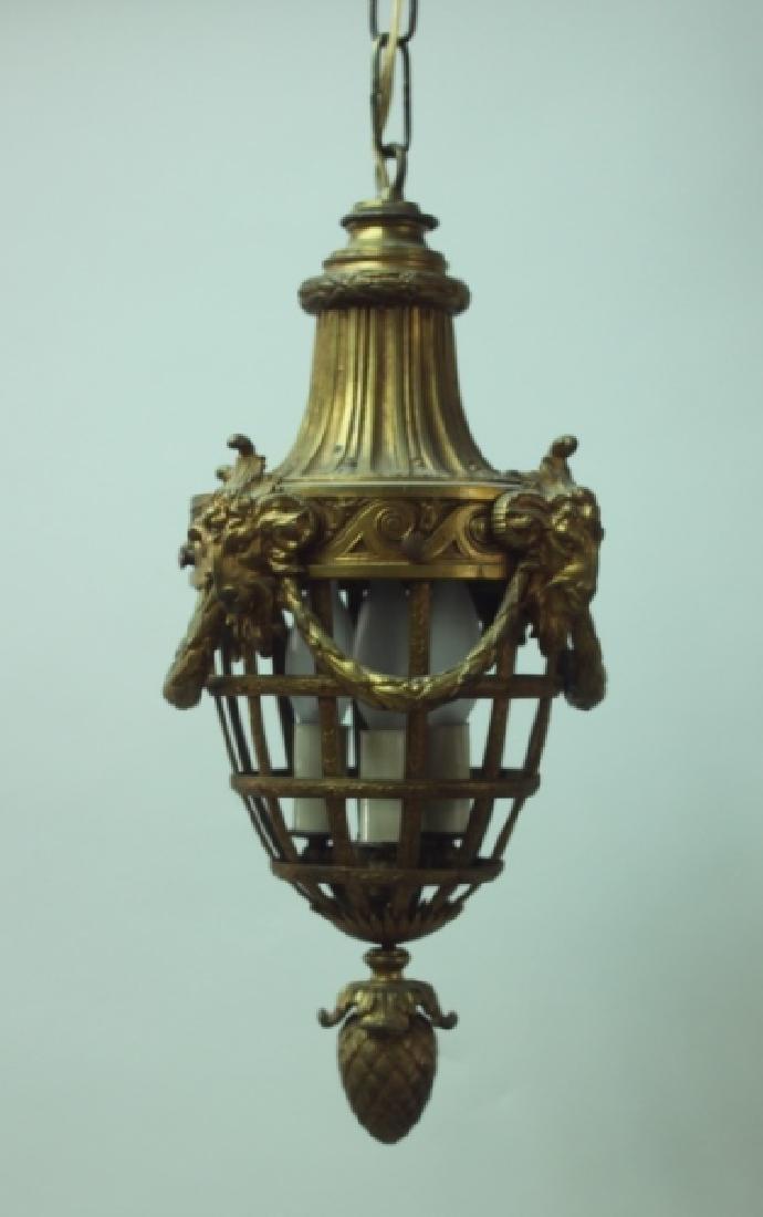 19C French Dore Bronze Rams Heads Hanging Lamp - 2