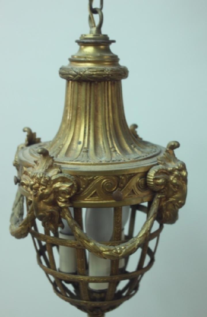 19C French Dore Bronze Rams Heads Hanging Lamp - 3