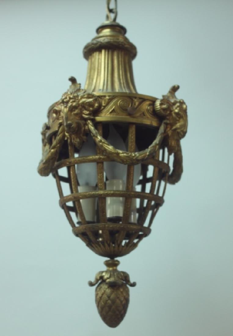 19C French Dore Bronze Rams Heads Hanging Lamp - 5