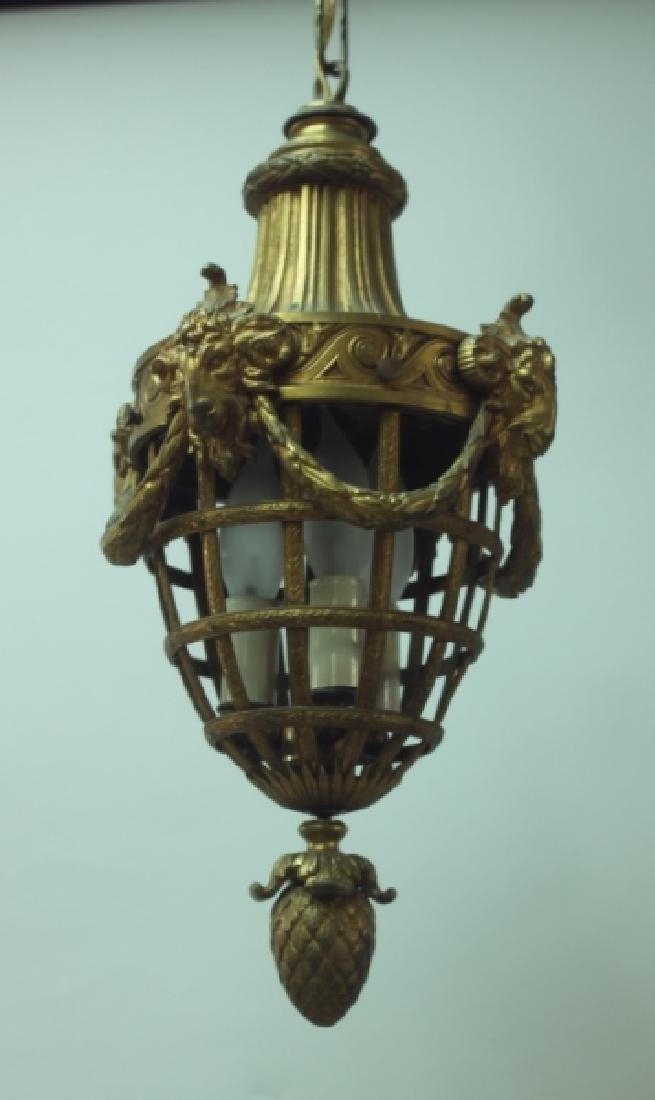 19C French Dore Bronze Rams Heads Hanging Lamp - 6