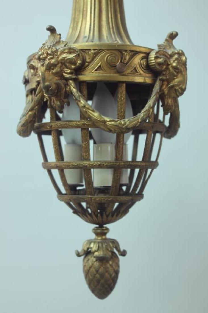 19C French Dore Bronze Rams Heads Hanging Lamp - 7