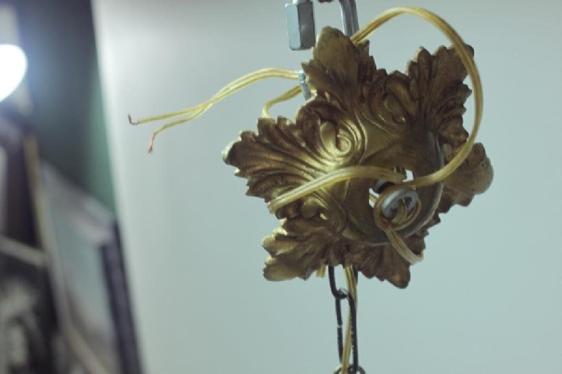 19C French Dore Bronze Rams Heads Hanging Lamp - 8
