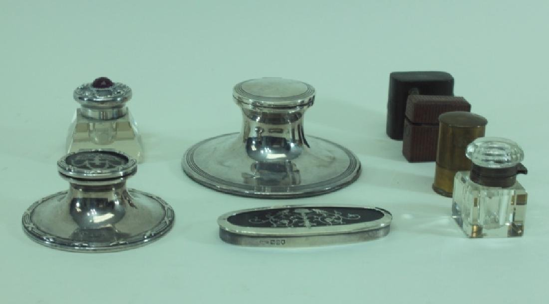 (8)pc English Sterling Inkwells & Accessories