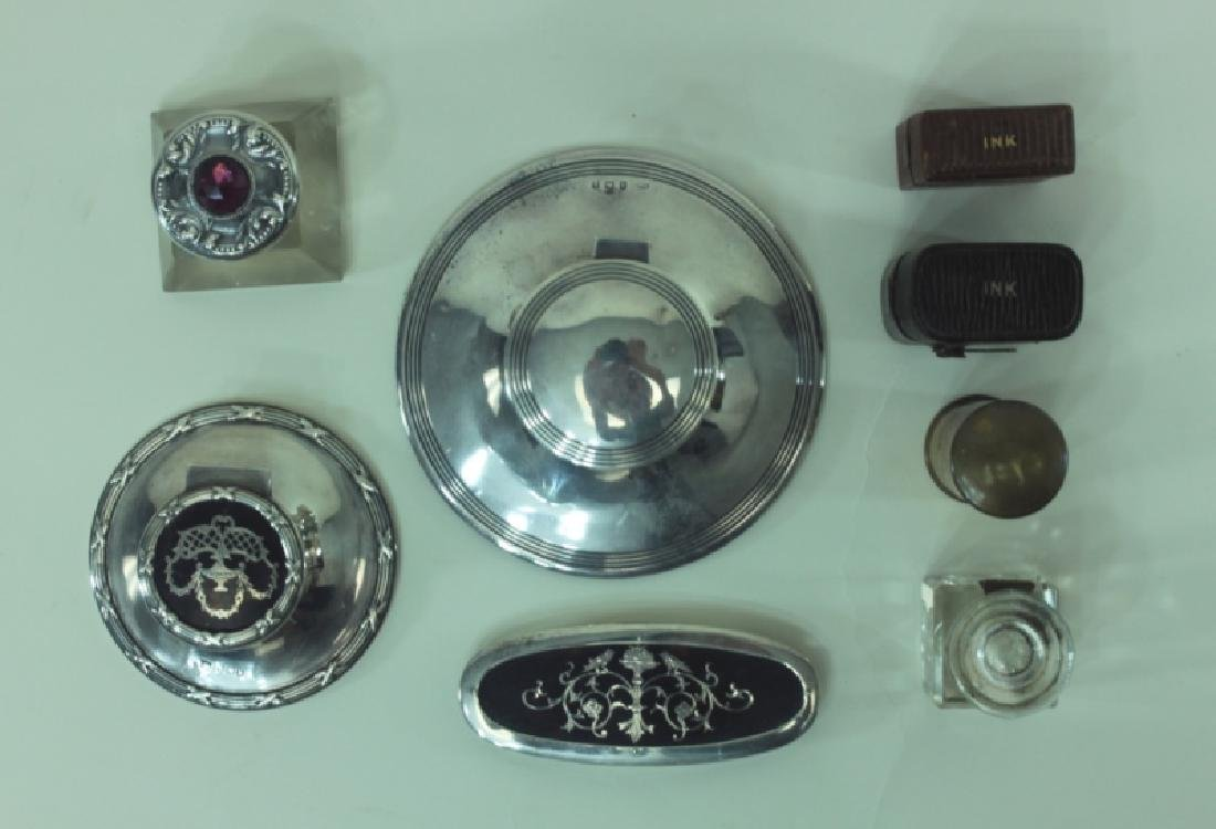 (8)pc English Sterling Inkwells & Accessories - 2