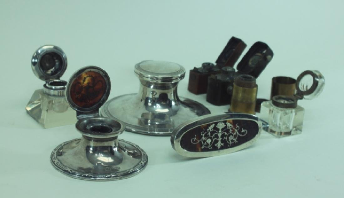 (8)pc English Sterling Inkwells & Accessories - 4