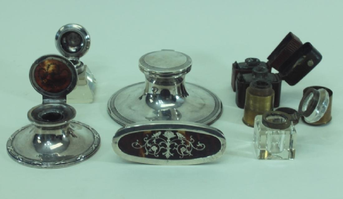 (8)pc English Sterling Inkwells & Accessories - 5