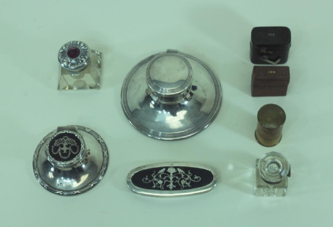(8)pc English Sterling Inkwells & Accessories - 6
