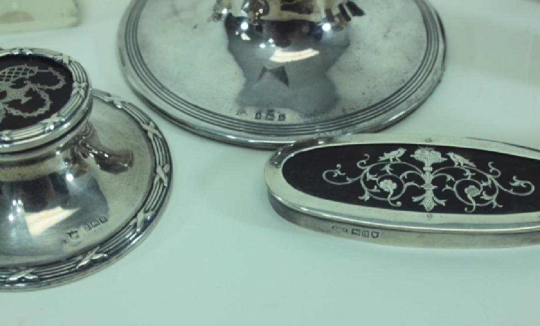 (8)pc English Sterling Inkwells & Accessories - 7