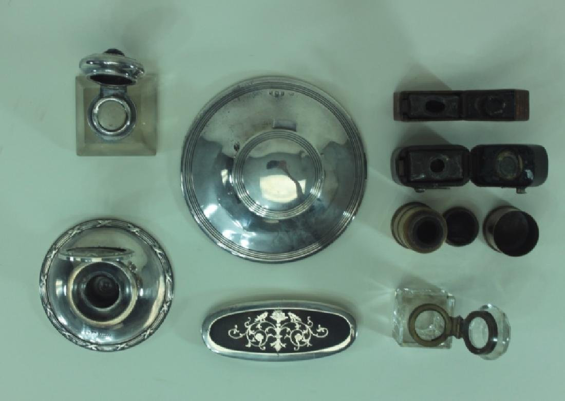 (8)pc English Sterling Inkwells & Accessories - 8