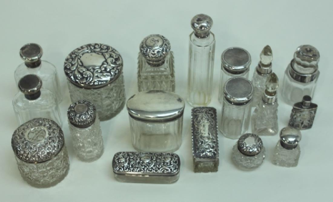 (18) Antique Sterling Lidded Crystal Dresser Jars