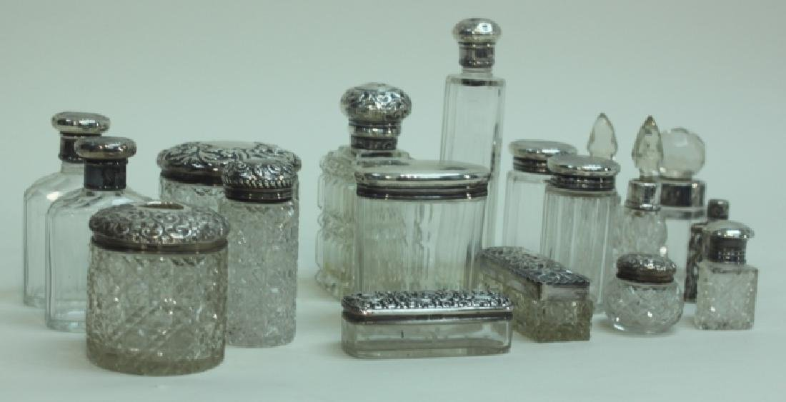 (18) Antique Sterling Lidded Crystal Dresser Jars - 7