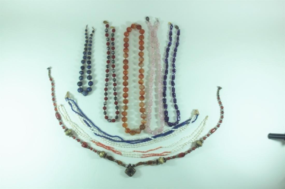 (8) Necklaces w Gem Stones 14K Gold Pearls Coral - 4