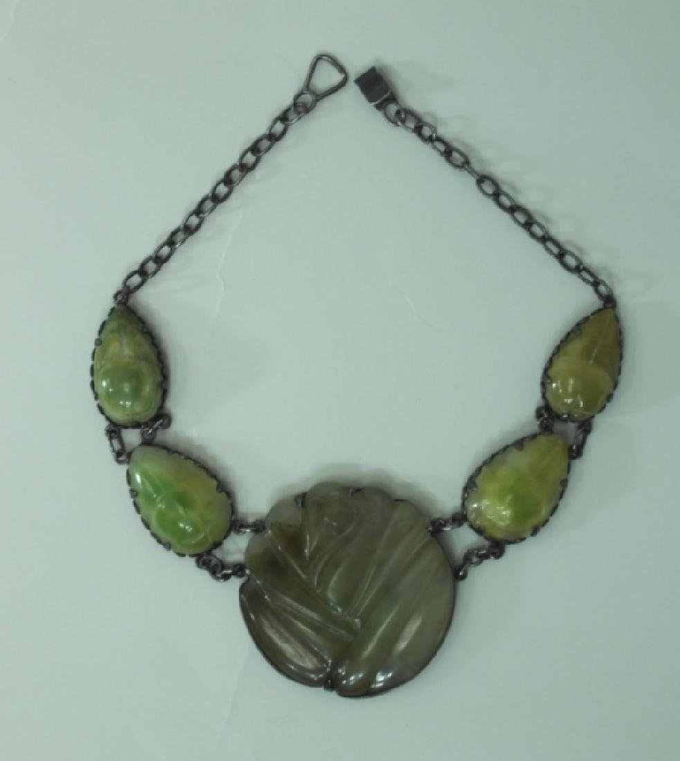 Vintage Mexican Sterling Silver & Jade Necklace