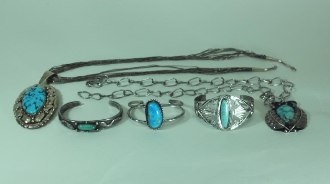 (5) Pcs American Indian Silver & Turquoise Jewelry