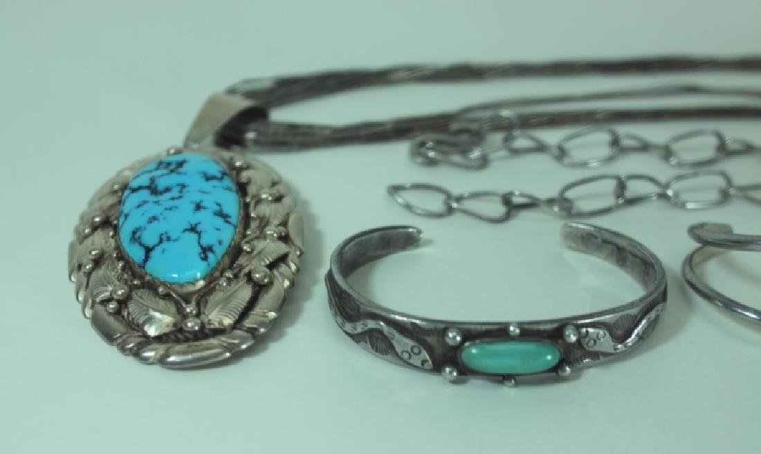 (5) Pcs American Indian Silver & Turquoise Jewelry - 2