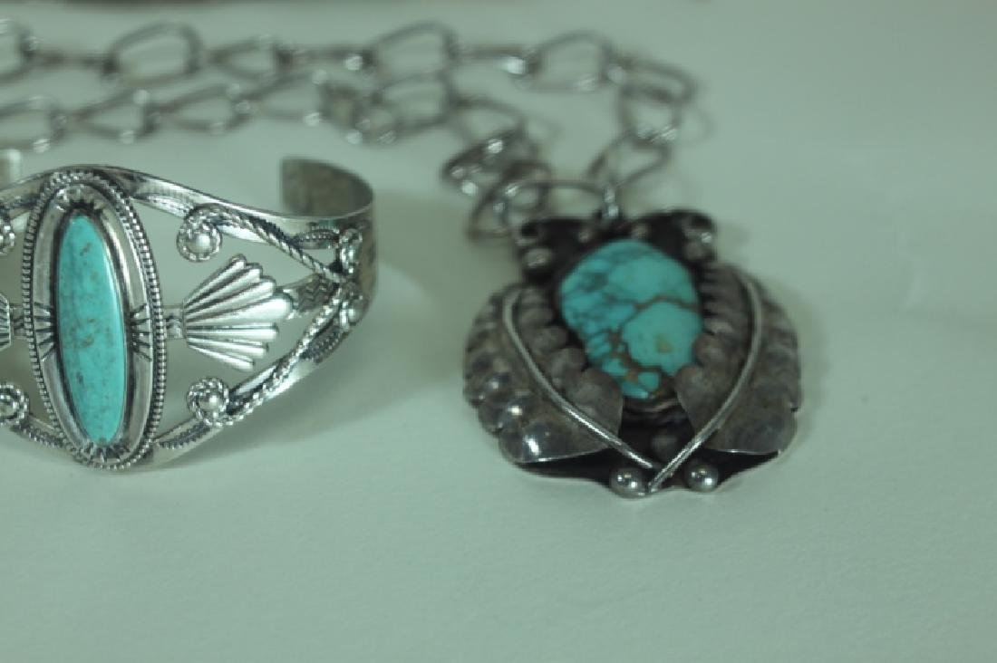 (5) Pcs American Indian Silver & Turquoise Jewelry - 3