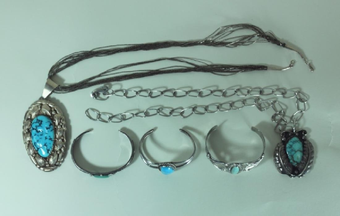 (5) Pcs American Indian Silver & Turquoise Jewelry - 4