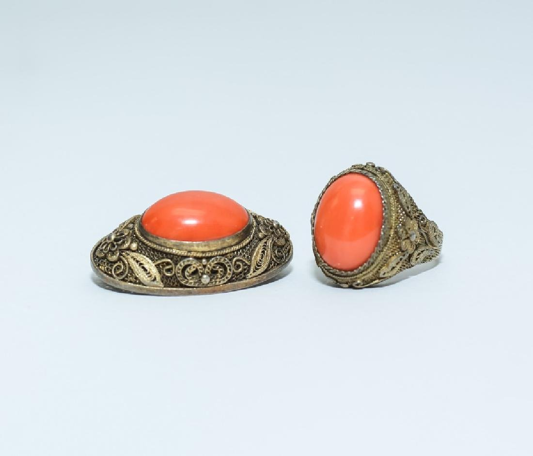 Vintage Chinese Red Coral Ring & Pin Jewelry Set