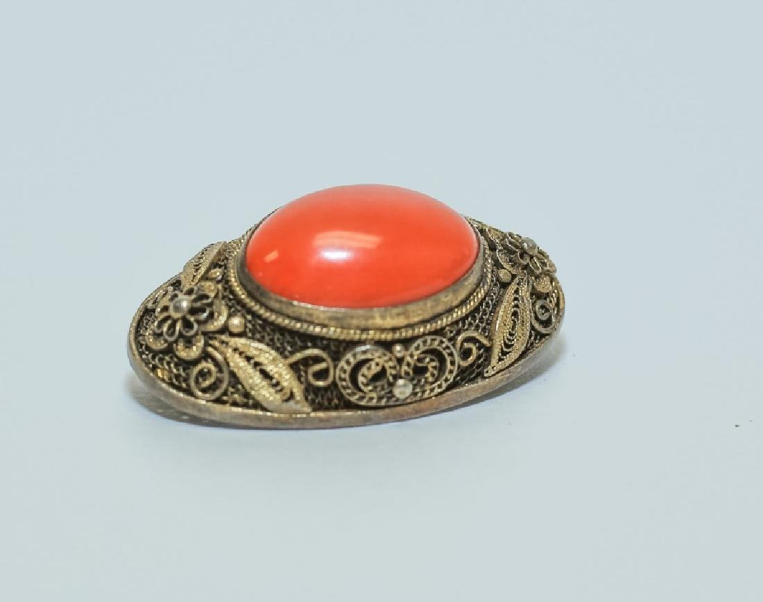 Vintage Chinese Red Coral Ring & Pin Jewelry Set - 3