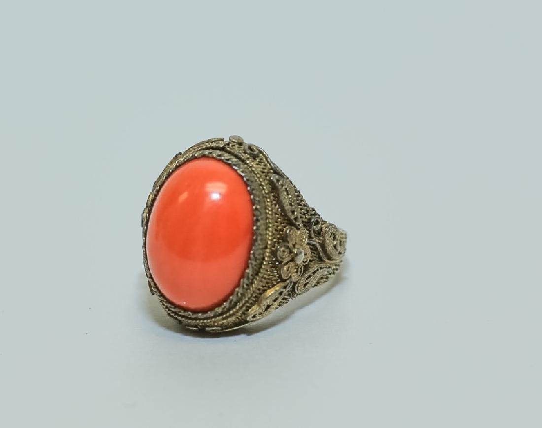 Vintage Chinese Red Coral Ring & Pin Jewelry Set - 4