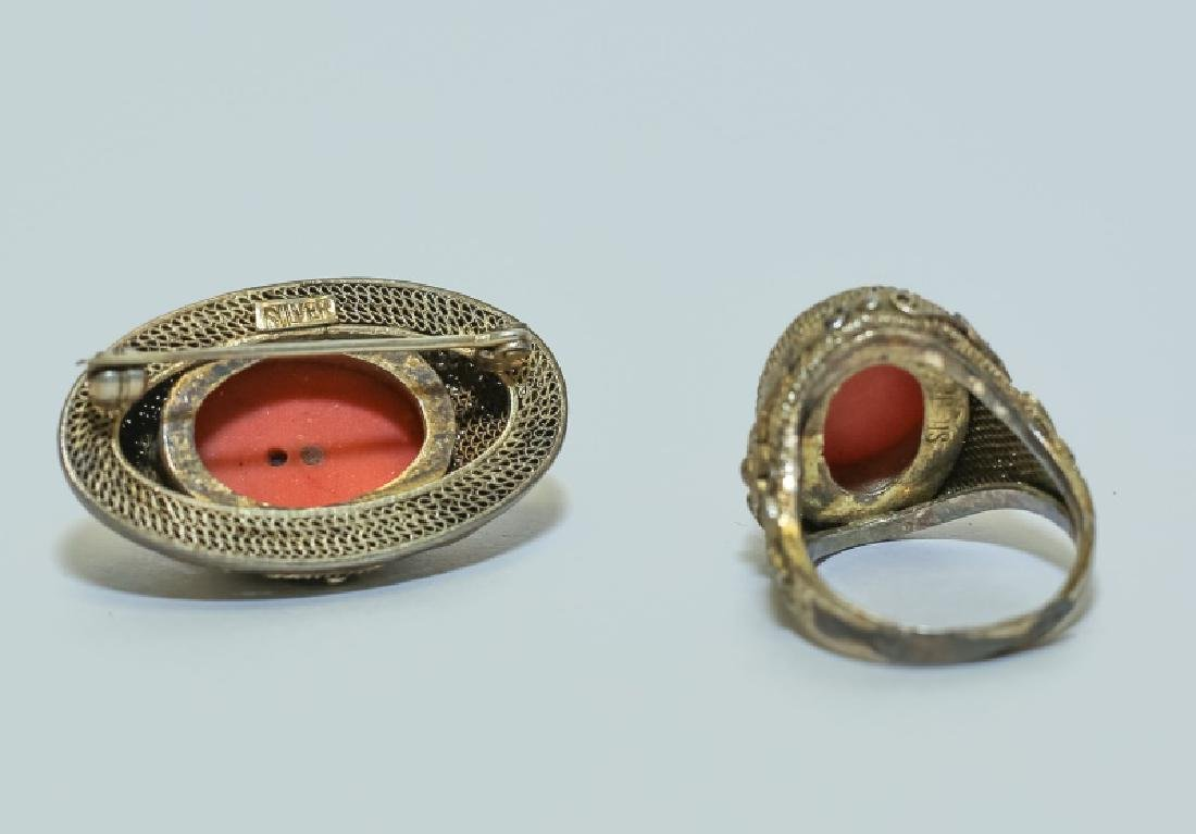 Vintage Chinese Red Coral Ring & Pin Jewelry Set - 5