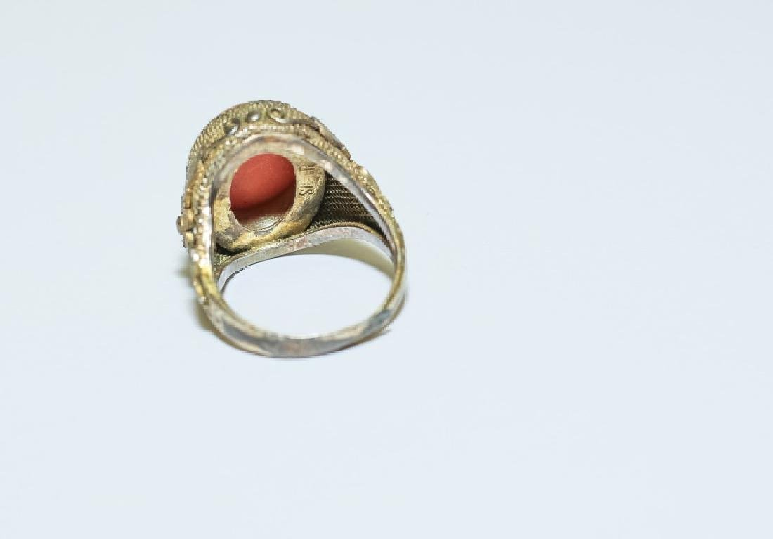 Vintage Chinese Red Coral Ring & Pin Jewelry Set - 7
