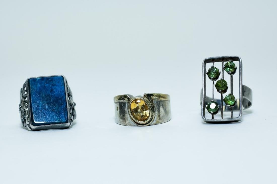 (3) Vintage Gemstone & Sterling Silver Rings