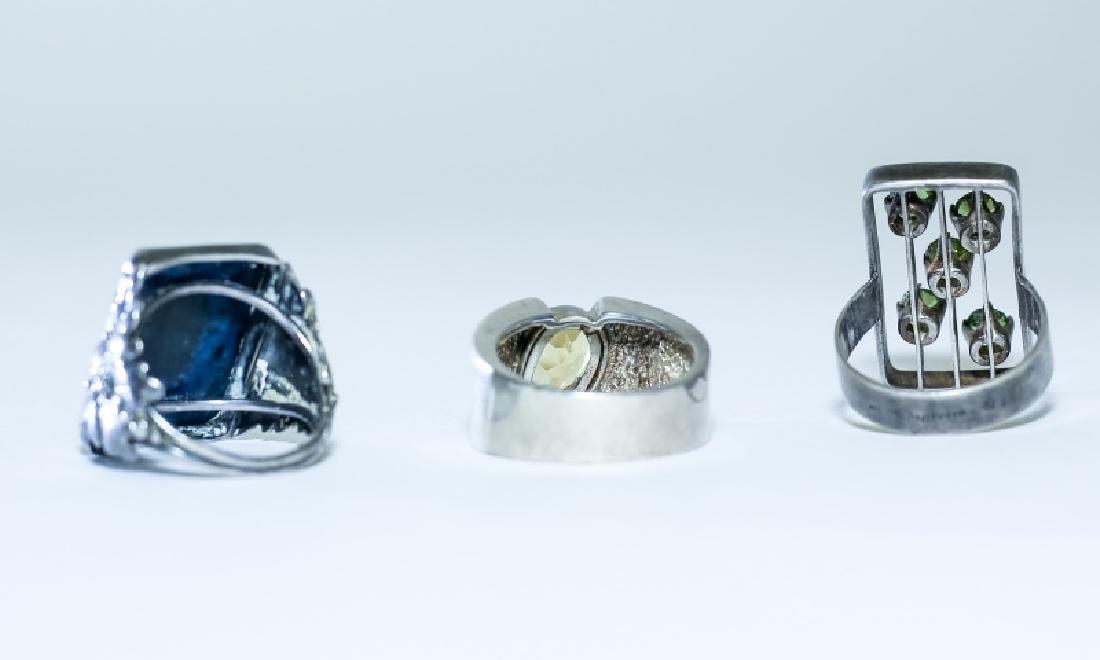 (3) Vintage Gemstone & Sterling Silver Rings - 5