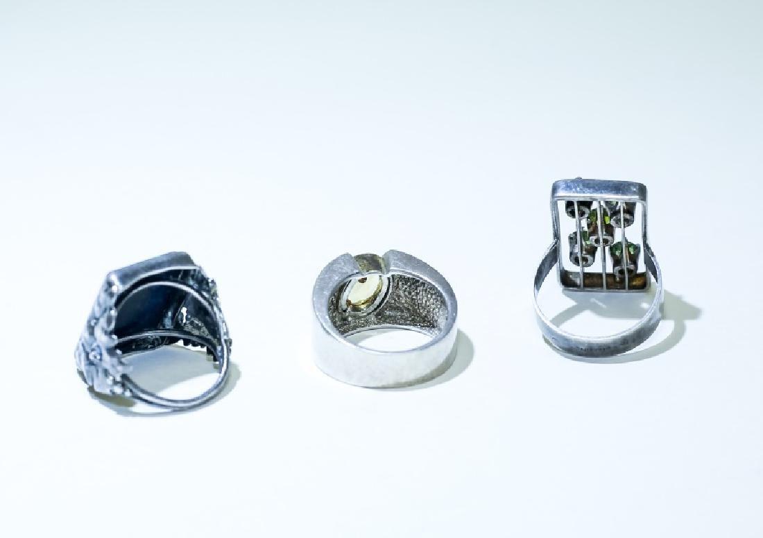 (3) Vintage Gemstone & Sterling Silver Rings - 6