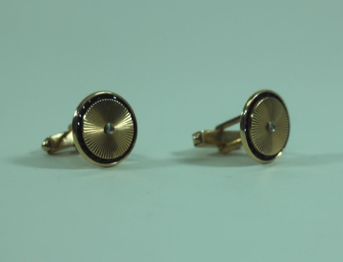 Lucien Piccard Men's Jewelry 14K Gold Cufflinks - 2