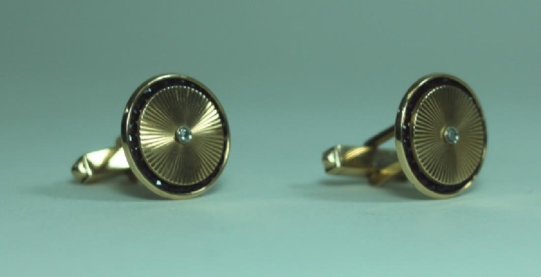 Lucien Piccard Men's Jewelry 14K Gold Cufflinks - 3