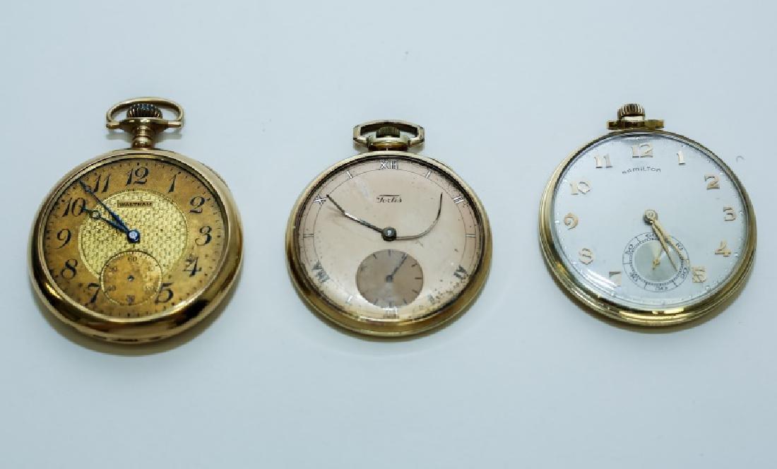 (3) 14K Gold Men's Pocket Watches