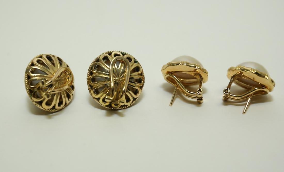 (2) Pairs Mombe Pearl Earrings set in 14K Gold - 2