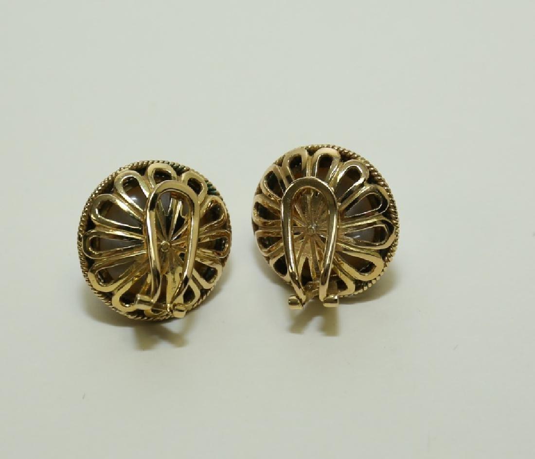 (2) Pairs Mombe Pearl Earrings set in 14K Gold - 7