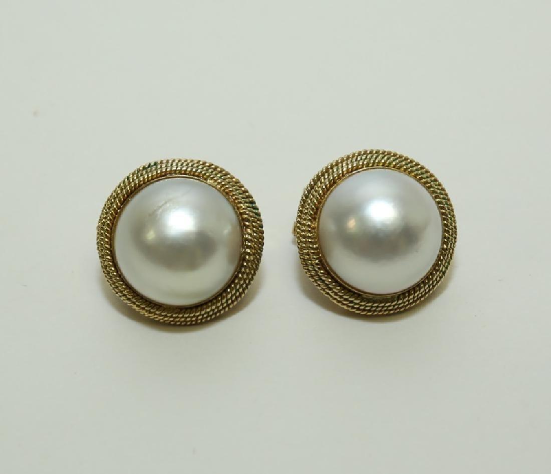 (2) Pairs Mombe Pearl Earrings set in 14K Gold - 8